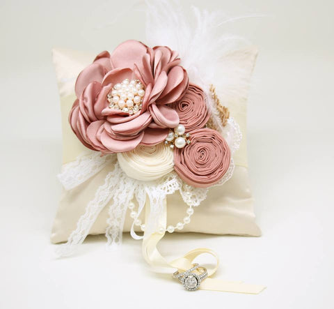 Ivory Ring Pillow Floral Dusty Pink wedding Dog Ring Bearer Collar, Lace wedding