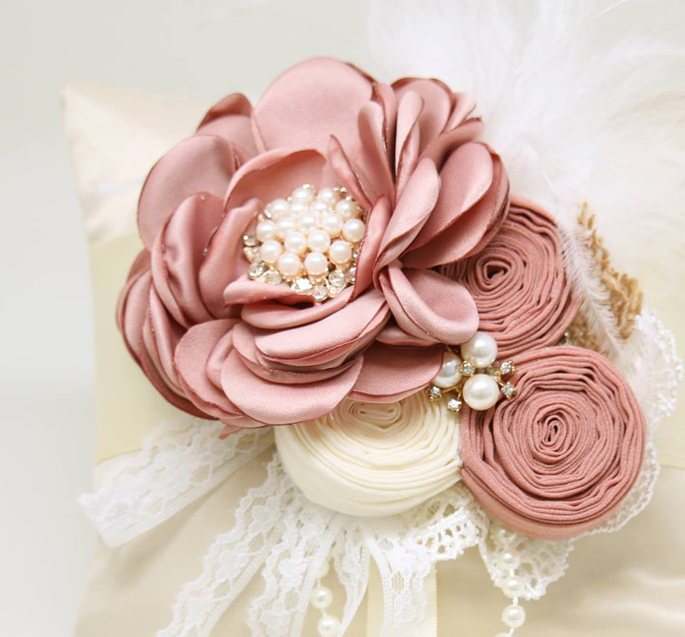 Ivory Ring Pillow Floral Dusty Pink wedding Dog Ring Bearer Collar ...