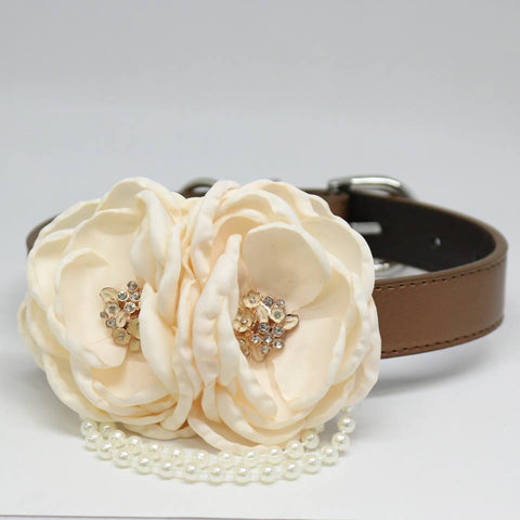 Ivory Flower dog collar, Pet wedding accessory, Pearls, Rhinestone, Dogs birthday, Puppy Lovers