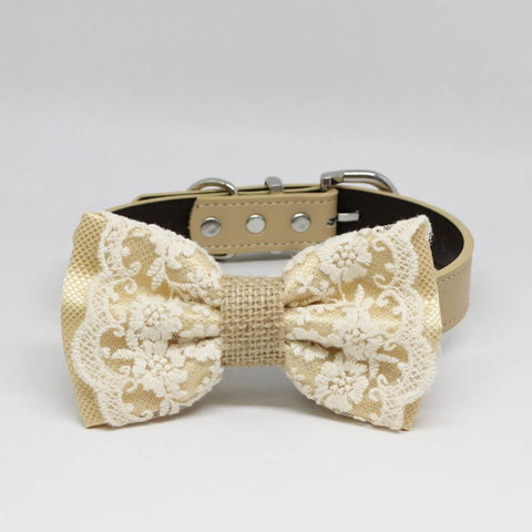 Ivory Lace Dog Bow Tie collar, Burlap, Rustic, Country, Pet wedding accessory, Classy , Wedding dog collar