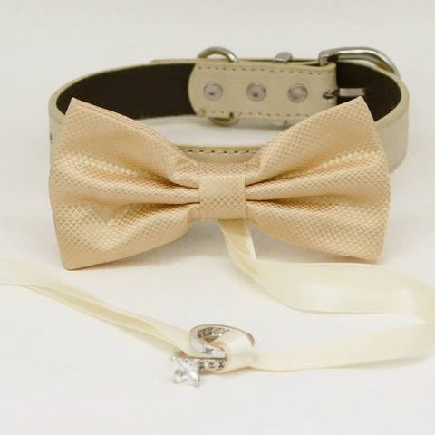 Ivory bow tie collar Leather collar dog of honor ring bearer adjustable handmade XS to XXL collar bow, Puppy, Proposal , Wedding dog collar