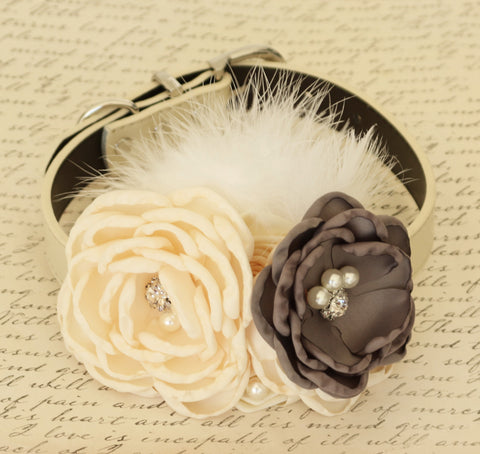 Gray Floral Ivory dog collar, Gray wedding, birthday Beaded collar, Pearl, Flowers