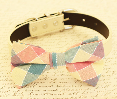 Plaid Dog Bow tie attached to collar, birthday, Pet wedding, Ivory Pink , Wedding dog collar