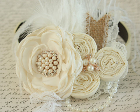 Rustic Ivory Floral wedding dog collar, Pet wedding accessory, Pearls, Rhinestone