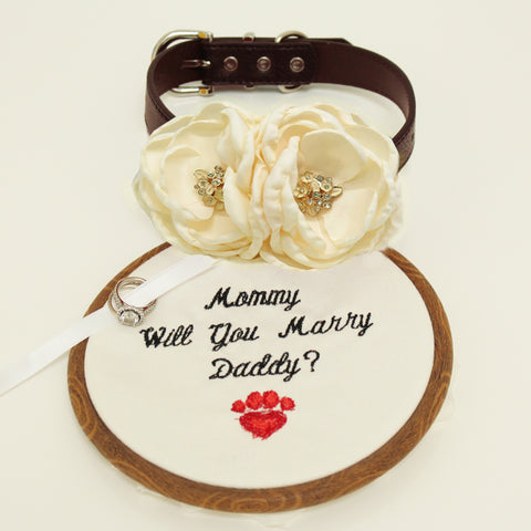 Ivory beaded flower dog collar, flower and handmade Embroidery sign attached to leather collar, will you marry me sign, proposal dog collar , Wedding dog collar