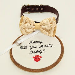 Ivory lace Bow Tie dog collar, Bow and handmade Embroidery sign attached to leather dog collar, will you marry me, Marry me sign, dog ring bearer , Wedding dog collar