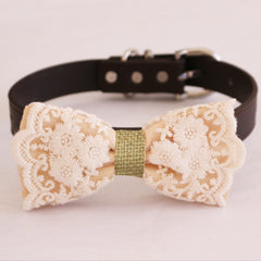 Ivory lace bow tie dog collar  girl collar, M to XXL Collar, dog of honor ring bearer, Handmade adjustable collar
