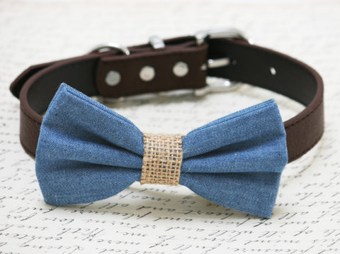 Blue Burlap dog bow tie collar, dog birthday gift, denim bow tie , Wedding dog collar