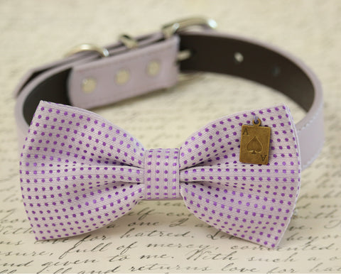 Lavender Dog Bow collar, Pet wedding accessory, Ace charm