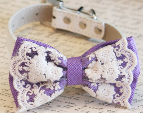 Lavender Dog Bow Tie, Purple Wedding, Pet wedding accessory