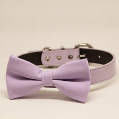 Lavender dog bow tie collar, Dog collar, Pet wedding accessory, Lavender, Lilac wedding, Puppy Gift, Birthday,Leather collar, Dog lover