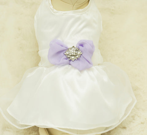 Lavender Dog dress, pet Wedding accessory, Rhinestone