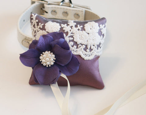 Lavender Dog Ring Bearer Pillow, Lavender Wedding lace Ring Pillow dog Collar