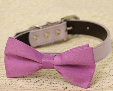 Lavender dog Bow tie Collar, Pet wedding accessory, Leather Dog collar