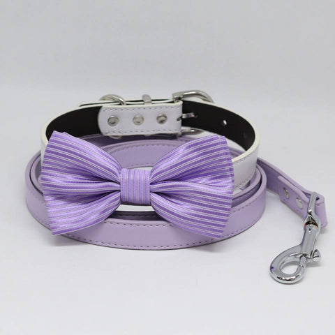Dog collar leash, Lavender Bow tie, Lilac Leash, Handmade, Puppy Gift, Dog collar wedding, Dog of Honor , Wedding dog collar