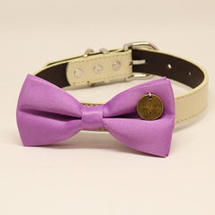 Lavender Dog Bow Tie collar, Pet wedding accessory, Charm (I Love You), Puppy, birthday gift