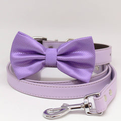 Dog collar and Leash, Lavender Bow tie, Puppy Gifts, Pet wedding, Dog of Honor , Wedding dog collar