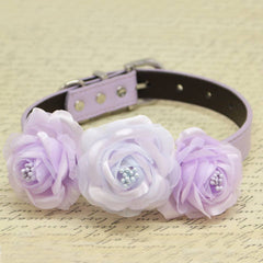 Lavender and Lilac Floral Dog Collar, Wedding Pet Accessory, Rose Flowers with Pearls