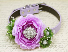 Floral Peonies Lavender Greenery wedding Dog Collar, Greenery Wedding, Rhinestone