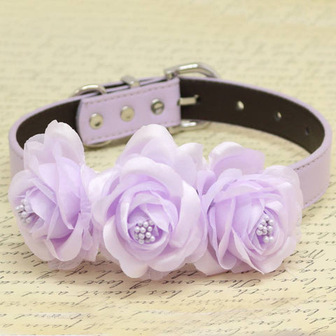 Lavender Floral Dog Collar, Wedding Pet Accessory, Rose Flowers with Pearls