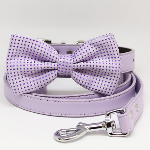 Dog collar and Leash, Lavender Bow tie, Puppy Gift, Pet wedding, Dog of Honor , Wedding dog collar