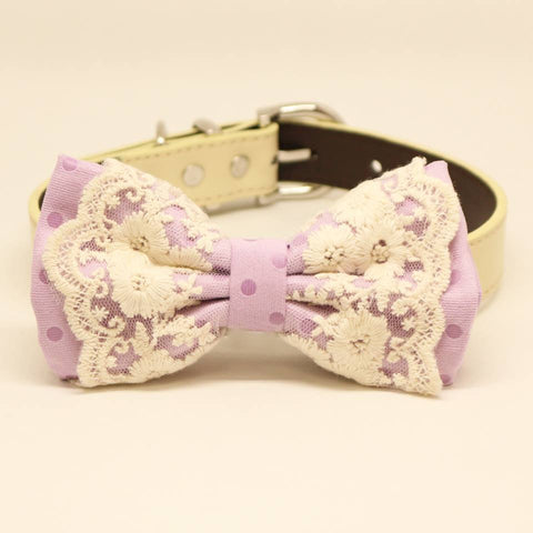 Lavender Polka Dots Dog Bow Tie Collar, Pet Wedding Accessories, birthday gift, Lace , Wedding dog collar