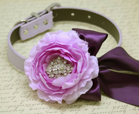Lavender Peony Floral Dog Collar, Pet Wedding, Lavender and Purple wedding