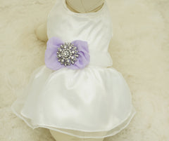Lavender Dog Dress, Pet wedding accessory,dog clothing, Rhinestone, dog lovers, birthday gift, Lavender wedding, Rhinestone, Vintage wedding - LA Dog Store  - 1