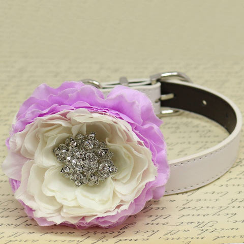 Lavender and White wedding dog Beaded collar, Floral Pet Wedding Accessory, Puppy Lovers