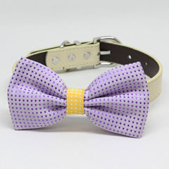 Lavender Purple and Yellow Dog Bow tie collar, birthday gift, Pet wedding accessory, Polka dots