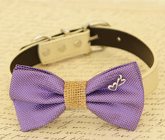 Lavender dog bow tie, Bow tie attached to dog collar, Purple wedding accessory, Dog birthday gift, dog collar, Lavender, Burlap, Charm, Heart - LA Dog Store  - 1