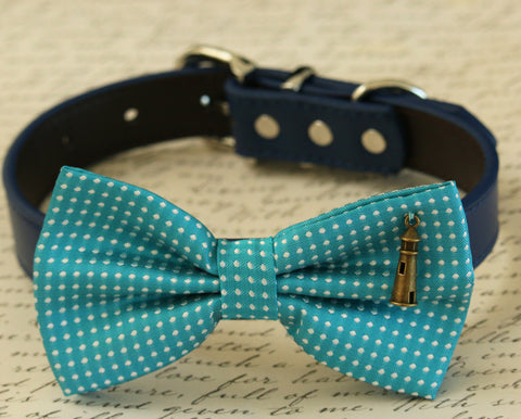 Blue Dog Bow Tie Collar Beach wedding- Light house charm- Some thing blue