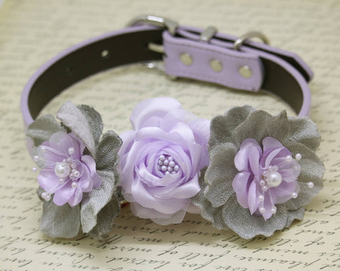 Lilac Gray Floral Wedding Dog Collar, Lilac wedding, Burlap Wedding with pearls