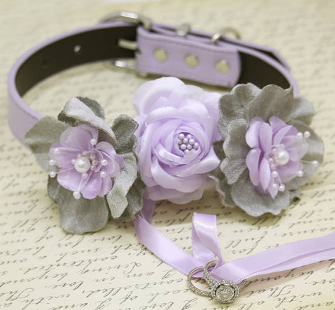 Lilac Gray Ring Bearer Wedding Dog Collar, Lilac wedding, Burlap ring bearer