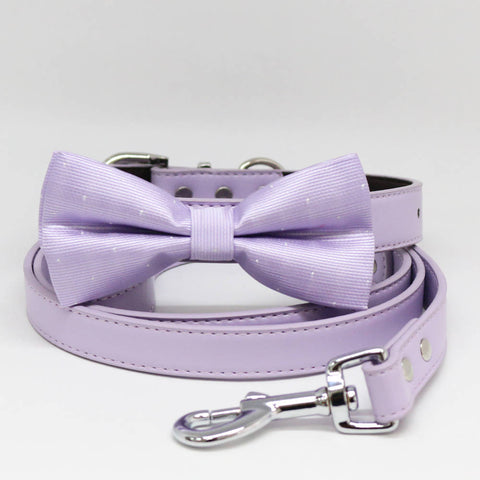 Dog Bow Tie collar and Leash, Lilac Bow tie, Lilac Leash, Handmade, Puppy Gift, Pet wedding