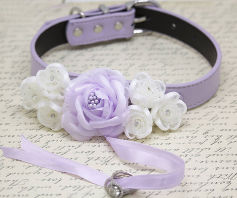 Lilac white wedding Dog Ring Bearer Collar, Floral wedding Ring Bearer