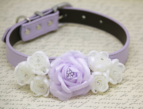 Lilac Floral white wedding Dog Collar, Pet wedding, Floral wedding, Dog lovers
