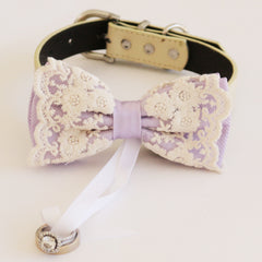 Handmade Lace lilac bow tie collar Leather collar dog of honor ring bearer adjustable handmade M to XXL collar bow, Proposal