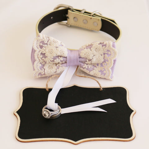 Handmade Lilac bow tie collar and Small Chalkboards Signs, Proposal, Bridal Sign, Dog Ring Bearer, Marry me, M to XXL collar , Wedding dog collar