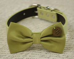 Green dog bow tie collar-  Live, Love, Laugh, Greenery