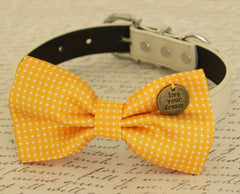 Yellow Dog Bow tie, Bow attached to dog collar,Live your dream, Dog birthday gift, Pet wedding accessory, beach wedding, Yellow, Polka dots - LA Dog Store  - 1