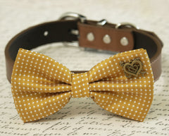 Mustard Dog Bow Tie collar, Pet wedding accessory, Country Rustic, Heart