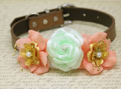 Floral Mint Peach Gold Wedding Dog Collar, Peach Mint Gold wedding, Beach Wedding Ideas