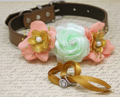 Mint Peach Gold Floral Ring Bearer Dog Collar, Peach Mint wedding, Gold Ring Bearer , Wedding dog collar