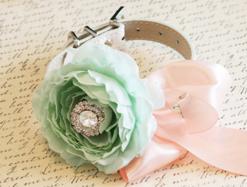 Mint Peony and Blush Floral Dog Collar, Mint Wedding Accessory, Pet Wedding Accessory