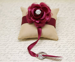 Marsala Champagne Ring Pillow for dogs attach to Collar, Wedding Dog, Proposal , Wedding dog collar