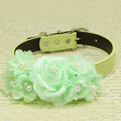 Mint Green Floral Wedding Dog Collar, Rose Flowers with Pearls, Wedding Dogs Accessory , Wedding dog collar