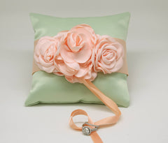Mint Ring Pillow floral Peach wedding Dog Collar, Summer wedding, Mint Wedding
