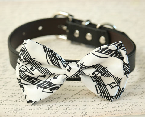 Black and white Dog Bow Tie collar, Pet accessory, Music Note