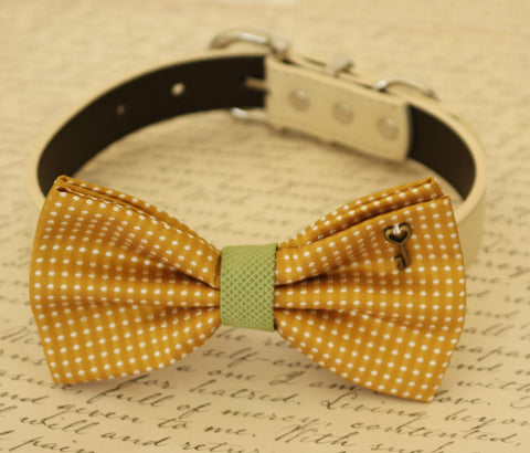 Mustard Dog Bow Tie attached to collar, Pet accessory, Dog wedding, Charm